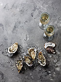 Open Oysters and champagne copy space
