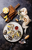 Open Oysters with bread and champagne