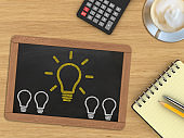 Creativity idea innovation desk top view