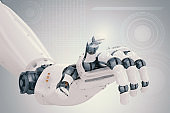 robotic hand with virtual graphic