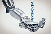 robotic hand holding dna helix