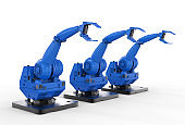 blue robotic arms