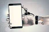 robot hand holding blank screen mobile phone