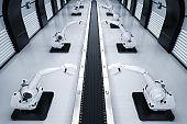 robotic arms with conveyor line