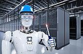 robot working in server room