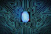 blue brain on circuit board