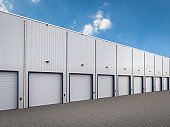 warehouse exterior with shutter doors