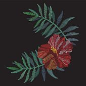 Traditional folk fashionable stylish floral embroidery stitch on a black background. Hibiscus and tropical palm. Sketch for printing on clothing, fabric, bag, accessories and design. Trend vector