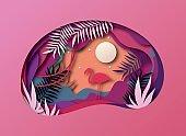 Slice of paper, origami, tropical landscape. Sun, silhouette of nature flamingo, vector