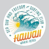 Hawaii Surfing Colored Label On White Background