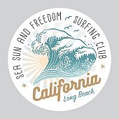California Surfing Club Colored Label On White Background
