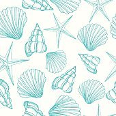 Seamless background with shells. Summer vector design.