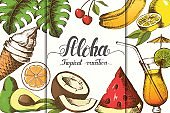 Summer background with tropical fruits, ice cream, cocktail, palm leaves and trendy hand made lettering.