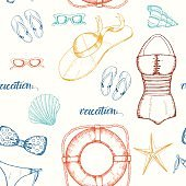 Seamless pattern with hand drawn doodle female summer accessories.