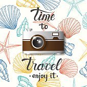 Summer poster with photo realistic camera on background with hand drawn seashells.