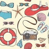 Vintage seamless background with hand drawn summer objects.