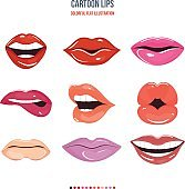 Set female lips with a variety of emotions, facial expressions