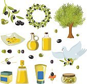 Olive isolated icon set with products and decorations from olives