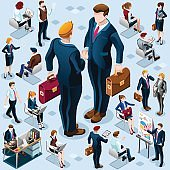 Isometric Business People Icon Isolated Set Vector Illustration