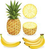 Pineapple and banana fruit.