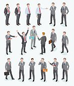 Group of business man isometric design.