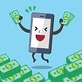 Business concept cartoon smartphone character earning money stacks