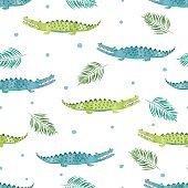 Seamless watercolor crocodile pattern.