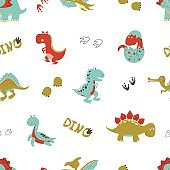 Seamless cartoon dinosaurs pattern.