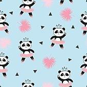 Cute panda ballerinas seamless pattern.
