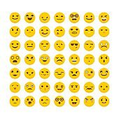 Set of emoticons. Cute emoji icons. Flat design. Big collection with different expressions. Avatars