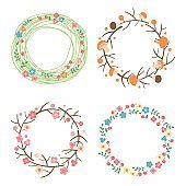 Decorative spring, autumn, summer wreaths. Seasonal concepts framework