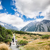 Hiker at Mount Cook in the Southern Alps in New Zealand