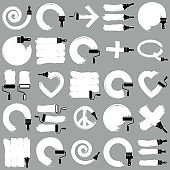 Set of vector art hand-painted signs created with smudge brushstrokes, symbols drawn with paintbrush. Monochrome elements made on different social themes can be used in web and graphic design.