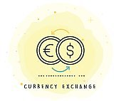 Currency Exchange Icon with Watercolor Patch