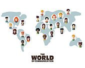 Set of social multi-ethnic people icons on World map