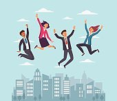 Business people jumping over the city and celebrating victory