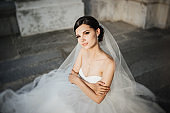 Bride smiling. Wedding portrait of beautiful bride. Wedding. Wedding day.
