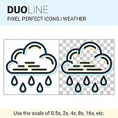 Pixel perfect duo line heavy rain icon on white and transparent background for responsive web or product design. Can be used in weather forecast apps or widgets