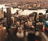 Aerial view of new york city at dusk