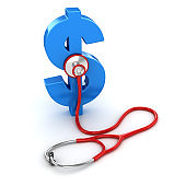 Blue Dollar Symbol and Red Stethoscope