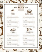 Fast food - monochromatic hand drawn template menu