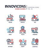 Bank Cards - modern vector line design icons set.