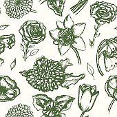 Beautiful Flowers - monochromatic hand drawn seamless pattern