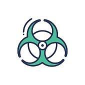 Biohazard Sign - modern vector single line icon