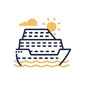 Passenger Ship - modern vector single line icon