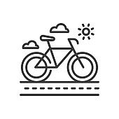 Bicycle - modern vector single line icon
