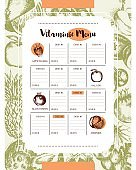 Vitaminic Column Menu - vector modern hand drawn template