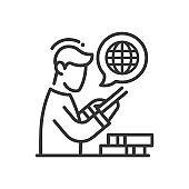 Online education - modern vector single line icon