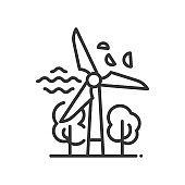 Windmill - modern vector single line icon