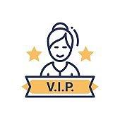 VIP person - modern vector single line icon